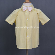 Fashion summer yellow cotton check fabric boy shirts